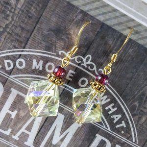 Yellow Crystal Gold Earrings